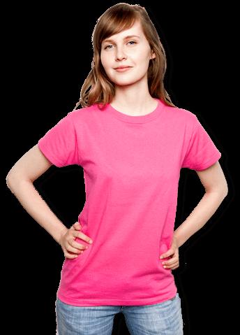 06b921d912fb95 Frau trägt klassisches T-Shirt zum bedrucken