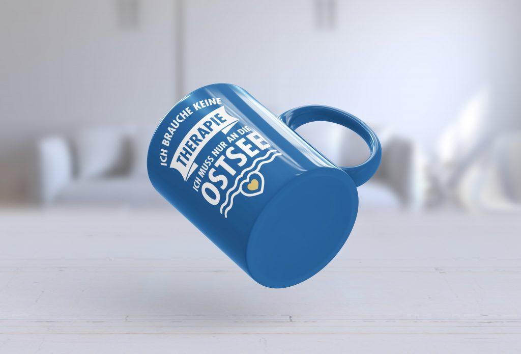 Blaue Tasse mit Text Motiv
